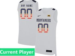 Mens Ncaa Nba 2019 West Virginia Mountaineers Current Player White Usa Flag Nike Jersey