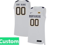 Mens Ncaa Nba 2019 West Virginia Mountaineers Custom Made White Nike Jersey