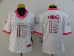 Women Nfl Kansas City Chiefs #15 Patrick Mahomes White&pink Fashion Vapor Untouchable Limited Jersey