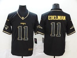 Mens New England Patriots #11 Julian Edelman Black Retro Golden Edition Vapor Untouchable Limited Jerseys