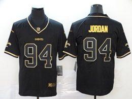 Mens Nfl New Orleans Saints #94 Cameron Jordan Black Retro Golden Edition Vapor Untouchable Limited Jerseys