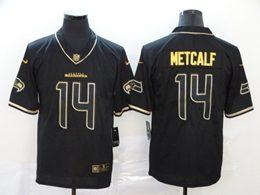 Mens Nfl Seattle Seahawks #14 Dk Metcalf Black Retro Golden Edition Vapor Untouchable Limited Jerseys