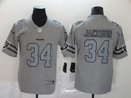 Mens Nfl Oakland Raiders #34 Bo Jackson Heather Grey Retro Vapor Untouchable Limited Jersey