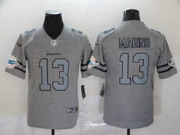 Mens Miami Dolphins #13 Dan Marino Heather Grey Retro Vapor Untouchable Limited Jersey