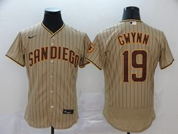 Mens Mlb San Diego Padres #19 Tony Gwynn Brown Stripe Flex Base Nike Jersey