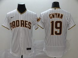 Mens Mlb San Diego Padres #19 Tony Gwynn White Stripe Flex Base Nike Jersey