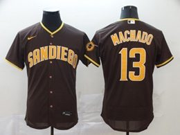 Mens Mlb San Diego Padres #13 Manny Machado Brown Flex Base Nike Jersey