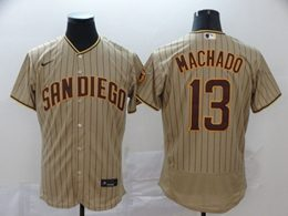 Mens Mlb San Diego Padres #13 Manny Machado Brown Stripe Flex Base Nike Jersey