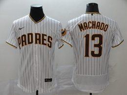 Mens Mlb San Diego Padres #13 Manny Machado White Stripe Flex Base Nike Jersey