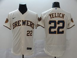 Mens Mlb Milwaukee Brewers #22 Christian Yelich White Flex Base Nike Jersey