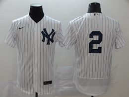Mens Mlb New York Yankees #2 Derek Jeter White Stripe Flex Base Nike Jersey No Name