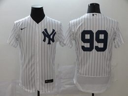 Mens Mlb New York Yankees #99 Aaron Judge White Stripe Flex Base Nike Jersey No Name