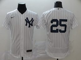 Mens Mlb New York Yankees #25 Gleyber Torres White Stripe Flex Base Nike Jersey No Name