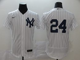 Mens Mlb New York Yankees #24 Gary Sanchez White Stripe Flex Base Nike Jersey No Name