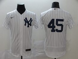 Mens Mlb New York Yankees #45 Gerrit Cole White Stripe Flex Base Nike Jersey No Name