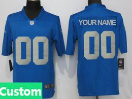 Mens Nfl Detroit Lions Custom Made Throwback Vapor Untouchable Limited Blue Jersey