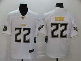 Mens Nfl Tennessee Titans #22 Derrick Henry White Golden 100th Vapor Untouchable Limited Jersey