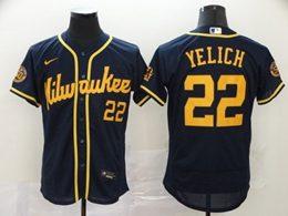 Mens Mlb Milwaukee Brewers #22 Christian Yelich Navy Blue Flex Base Alternate 2020 Nike Jersey