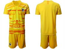Mens 19-20 Soccer France National Team ( Custom Made ) Yellow Eurocup 2020 Goalkeeper Short Sleeve Suit
