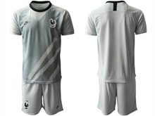 Mens 19-20 Soccer France National Team ( Custom Made ) Gray Eurocup 2020 Goalkeeper Short Sleeve Suit