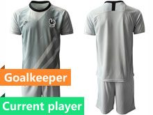 Mens 19-20 Soccer France National Team Current Player Gray Eurocup 2020 Goalkeeper Short Sleeve Suit