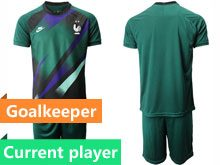 Mens 19-20 Soccer France National Team Current Player Dark Green Eurocup 2020 Goalkeeper Short Sleeve Suit