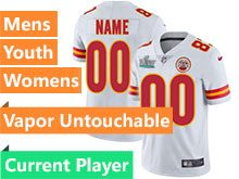 Mens Women Youth Nfl Kansas City Chiefs 2020 Super Bowl Liv White Current Player Vapor Untouchable Limited Jersey