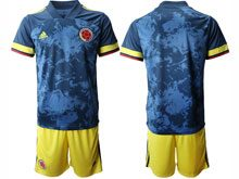 Mens 20-21 Soccer Colombia National Team ( Custom Made ) Blue Away Short Sleeve Suit Jersey