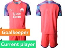 Mens 19-20 Soccer Olympique De Marseille Club Current Player Pink Goalkeeper Short Sleeve Suit Jersey