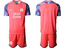 Mens 19-20 Soccer Olympique De Marseille Club ( Custom Made ) Pink Goalkeeper Short Sleeve Suit Jersey