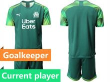 Mens 19-20 Soccer Olympique De Marseille Club Current Player Dark Green Goalkeeper Short Sleeve Suit Jersey