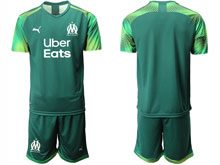 Mens 19-20 Soccer Olympique De Marseille Club ( Custom Made ) Dark Green Goalkeeper Short Sleeve Suit Jersey
