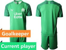 Mens 19-20 Soccer Olympique De Marseille Club Current Player Green Goalkeeper Short Sleeve Suit Jersey