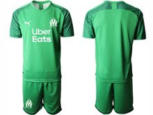 Mens 19-20 Soccer Olympique De Marseille Club ( Custom Made ) Green Goalkeeper Short Sleeve Suit Jersey