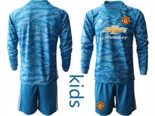 Youth 19-20 Soccer Manchester United Club ( Custom Made ) Blue Goalkeeper Long Sleeve Suit Jersey