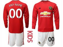 Youth 19-20 Soccer Manchester United Club ( Custom Made ) Red Home Long Sleeve Suit Jersey