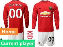 Youth 19-20 Soccer Manchester United Club Current Player Red Home Long Sleeve Suit Jersey