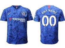 Mens 19-20 Soccer Chelsea Club ( Custom Made ) Blue Home Thailand Short Sleeve Suit Jersey