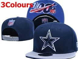 Mens Nfl Dallas Cowboys Blue&gray 100th Snapback Adjustable Hats 3 Colors