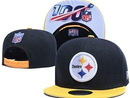 Mens Nfl Pittsburgh Steelers Black 100th Snapback Adjustable Hats