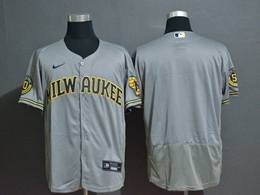 Mens Mlb Milwaukee Brewers Blank Gray Flex Base 2020 Nike Jersey