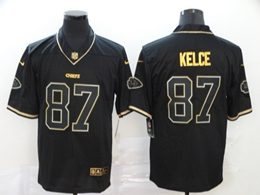 Mens Nfl Kansas City Chiefs #87 Travis Kelce Black Retro Golden Vapor Untouchable Limited Jersey