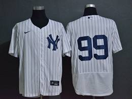 Mens Mlb New York Yankees #99 Aaron Judg White Stripe Flex Base Nike Jersey No Name
