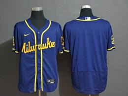 Mens Mlb Milwaukee Brewers Blank Blue Flex Base 2020 Nike Jersey