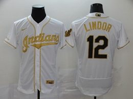 Mens Mlb Cleveland Indians #12 Francisco Lindor White Throwbacks Golden Flex Base Nike Jersey
