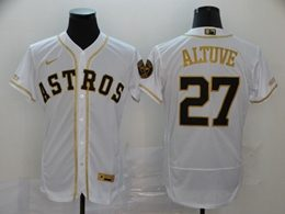 Mens Mlb Houston Astros #27 Jose Altuve White Throwbacks Golden Flex Base Nike Jersey