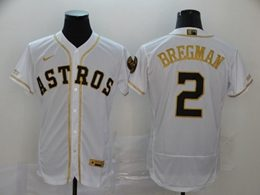 Mens Mlb Houston Astros #2 Alex Bregman White Throwbacks Golden Flex Base Nike Jersey