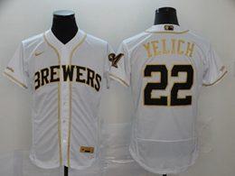 Mens Mlb Milwaukee Brewers #22 Christian Yelich White Throwbacks Golden Flex Base Nike Jersey