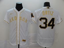 Mens Mlb Boston Red Sox #34 David Ortiz White Throwbacks Golden Flex Base Nike Jersey