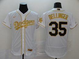 Mens Mlb Los Angeles Dodgers #35 Cody Bellinger White Throwbacks Golden Flex Base Nike Jersey